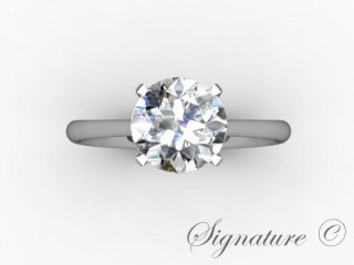 Certificated Round Diamond Solitaire Engagement Ring in Palladium - 9