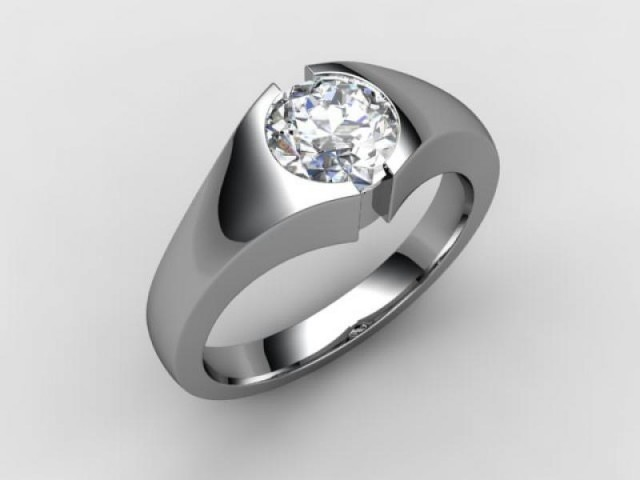 Certificated Round Diamond Solitaire Engagement Ring in Palladium - Main Picture