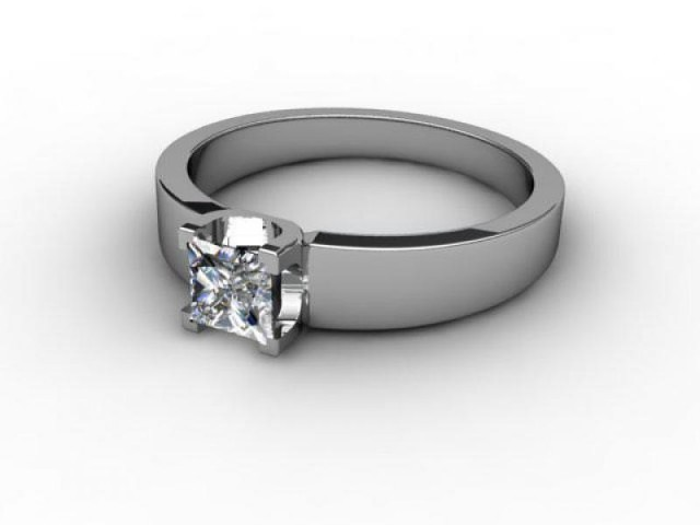 Certificated Princess-Cut Diamond Solitaire Engagement Ring in Platinum