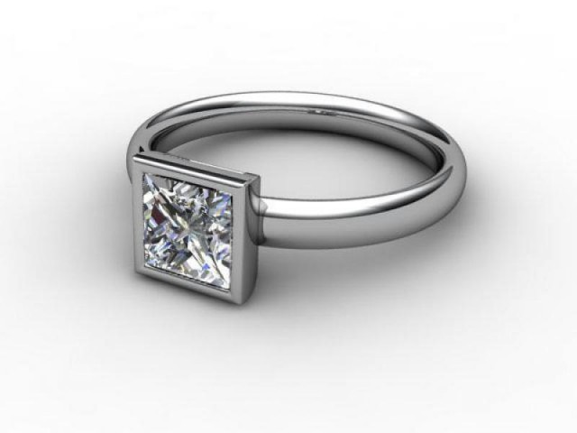 Certificated Princess-Cut Diamond Solitaire Engagement Ring in Platinum - Main Picture