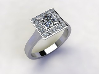 Certificated Princess-Cut Diamond in Platinum - 15