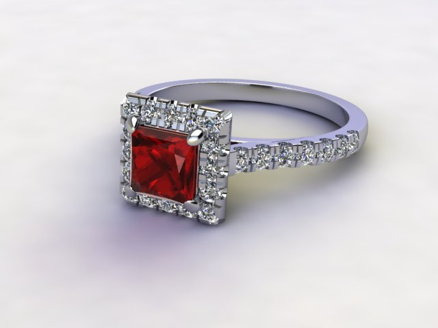 Natural Mozambique Garnet and Diamond Halo Ring. Hallmarked Platinum (950)
