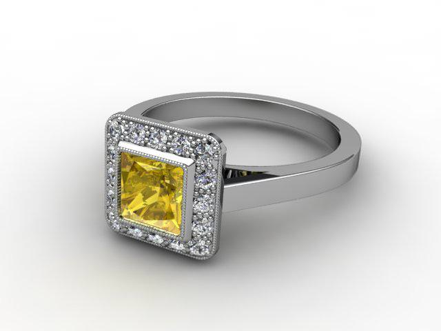 Natural Yellow Sapphire and Diamond Ring. Platinum (950)