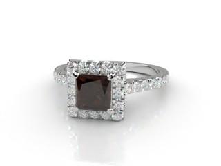 Natural Smoky Quartz and Diamond Halo Ring. Hallmarked Platinum (950)-02-0139-8915