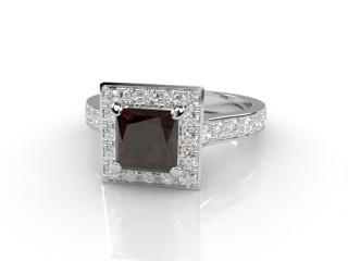 Natural Smoky Quartz and Diamond Halo Ring. Hallmarked Platinum (950)-02-0139-8916