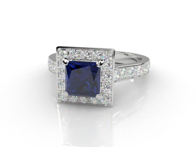 Natural Kanchanaburi Sapphire and Diamond Halo Ring. Hallmarked Platinum (950)