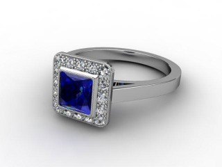 Natural Blue Sapphire and Diamond Ring. Platinum (950)-02-0147-9007