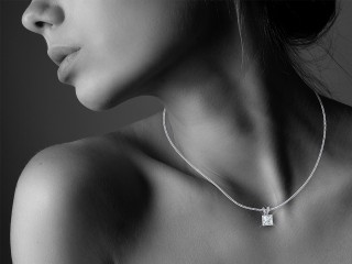 Certified Princess-Cut Diamond Pendant  - 15