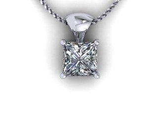 Certified Princess-Cut Diamond Pendant  - 9