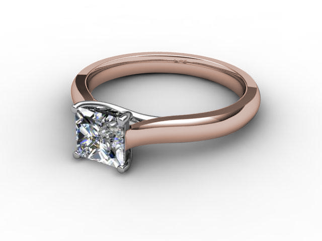 Certificated Princess-Cut Diamond Solitaire Engagement Ring in 18ct. Rose Gold
