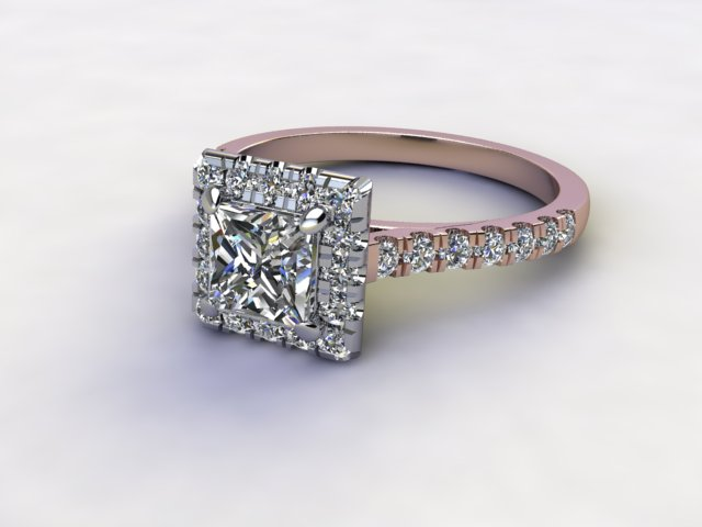 Certificated Princess-Cut Diamond in 18ct. Rose Gold - Main Picture