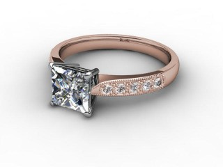Certificated Princess-Cut Diamond in 18ct. Rose Gold-02-0410-0709