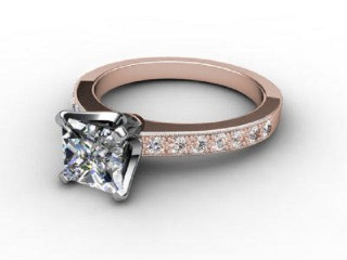 Certificated Princess-Cut Diamond in 18ct. Rose Gold-02-0414-6141