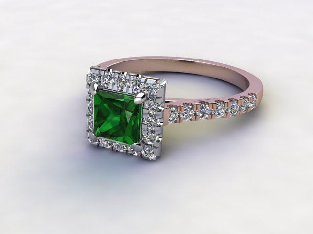 Natural Green Tourmaline and Diamond Halo Ring. Hallmarked 18ct. Rose Gold