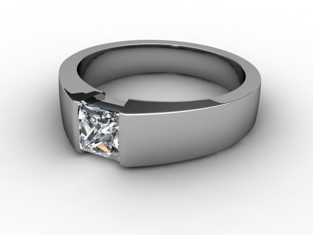 Certificated Princess-Cut Diamond Solitaire Engagement Ring in 18ct. White Gold