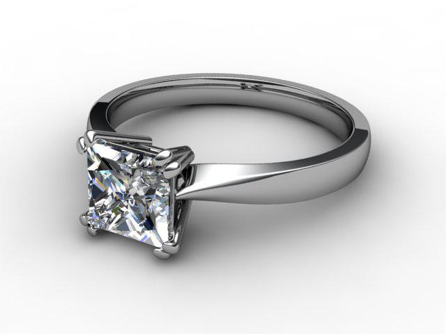 Certificated Princess-Cut Diamond Solitaire Engagement Ring in 18ct. White Gold - Main Picture