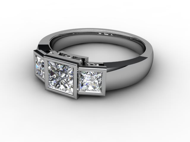 Trilogy 18ct. White Gold Princess Diamond