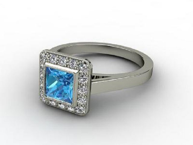 Natural Blue Topaz and Diamond Ring. 18ct White Gold