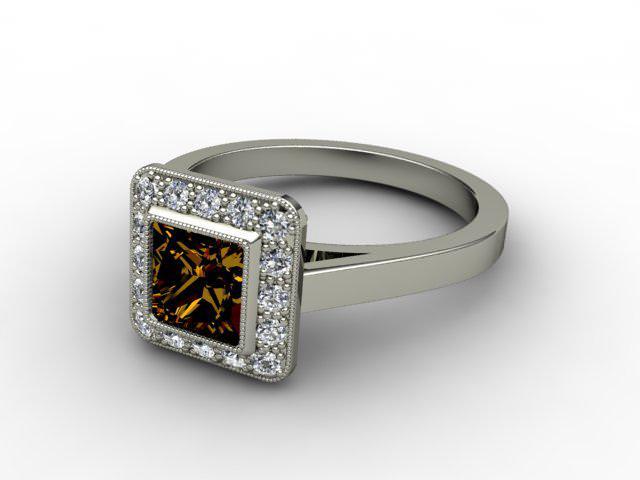 Natural Chocolate Quartz and Diamond Ring. 18ct White Gold