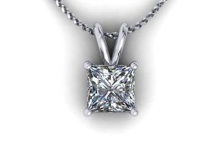 Certified Princess-Cut Diamond Pendant - 9