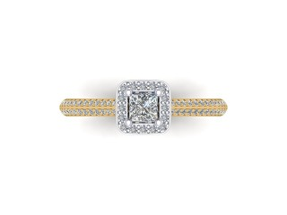 9ct. Yellow Gold Halo Cluster Diamond Engagement Ring