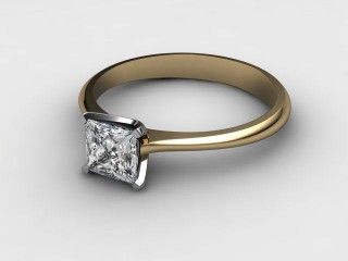 Certificated Princess-Cut Diamond Solitaire Engagement Ring in 18ct. Gold-02-2800-0001