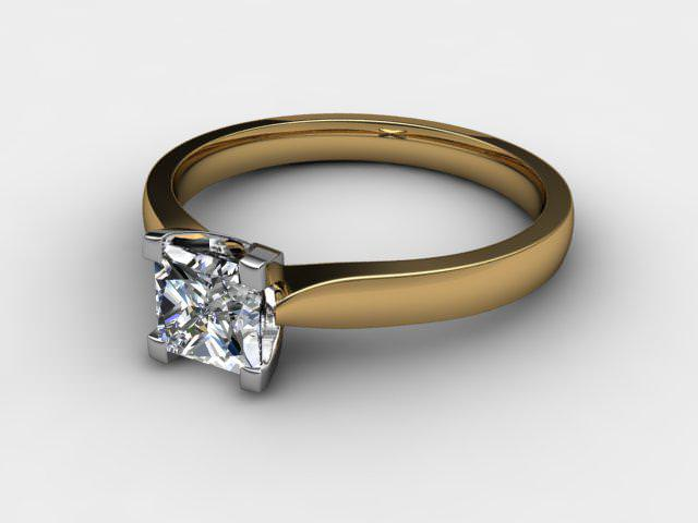 Certificated Princess-Cut Diamond Solitaire Engagement Ring in 18ct. Gold - Main Picture