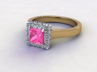Natural Pink Sapphire and Diamond Halo Ring. Hallmarked 18ct. Yellow Gold-02-2824-8914