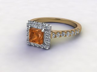 Natural Golden Citrine and Diamond Halo Ring. Hallmarked 18ct. Yellow Gold-02-2833-8915