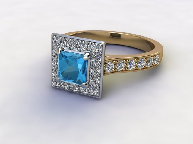 Natural Sky Blue Topaz and Diamond Halo Ring. Hallmarked 18ct. Yellow Gold