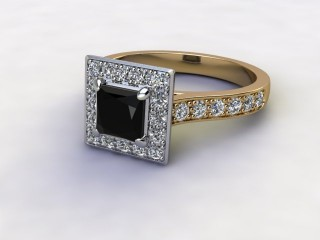 Natural Smoky Quartz and Diamond Halo Ring. Hallmarked 18ct. Yellow Gold-02-2839-8916
