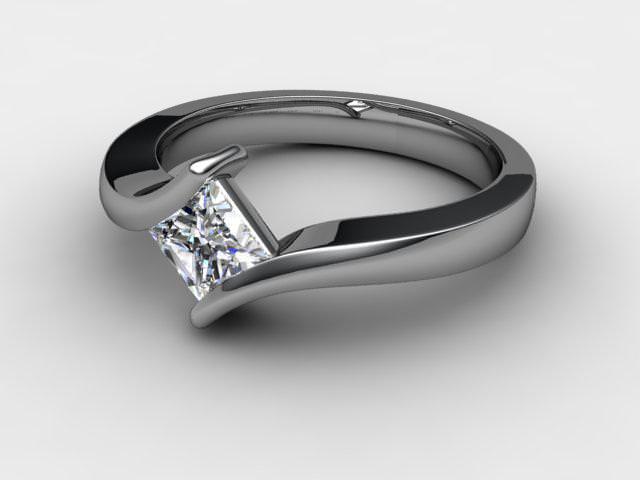 Certificated Princess-Cut Diamond Solitaire Engagement Ring in Palladium