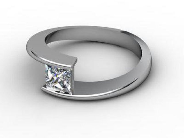 Certificated Princess-Cut Diamond Solitaire Engagement Ring in Palladium