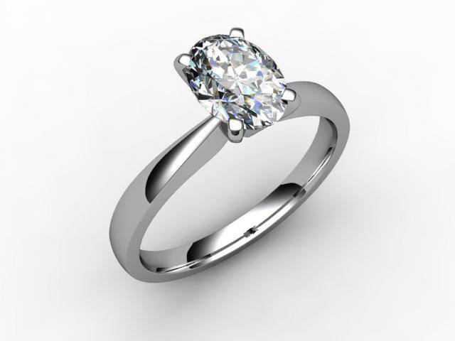 Certificated Oval Diamond Solitaire Engagement Ring in Platinum - Main Picture