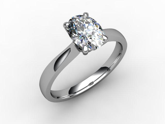 Certificated Oval Diamond Solitaire Engagement Ring in Platinum