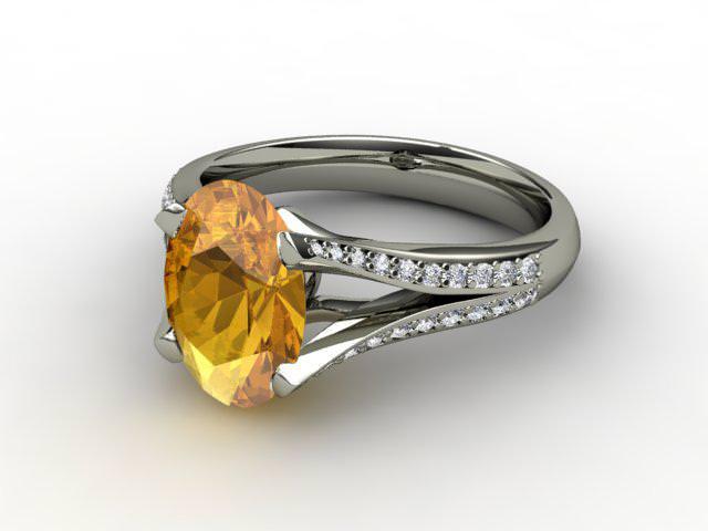 Natural Golden Citrine and Diamond Ring. Platinum (950)