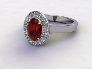 Natural Mozambique Garnet and Diamond Halo Ring. Hallmarked Platinum (950)-03-0117-8920