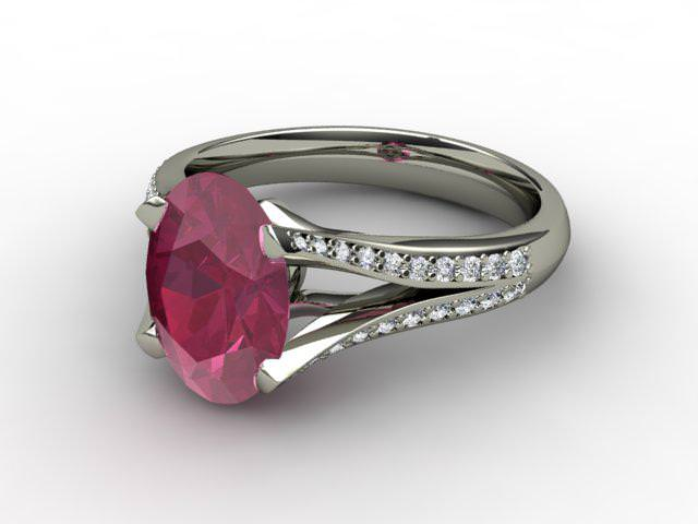 Natural Ruby and Diamond Ring. Platinum (950)