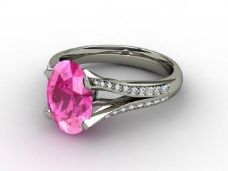 Natural Pink Sapphire and Diamond Ring. Platinum (950)-03-0124-9006