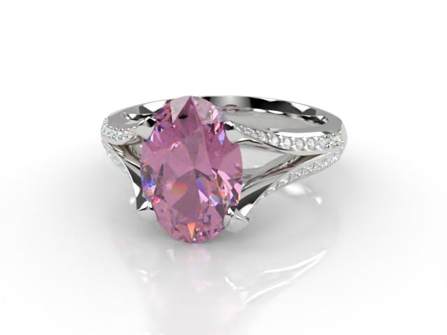 Natural Pink Sapphire and Diamond Ring. Platinum (950)
