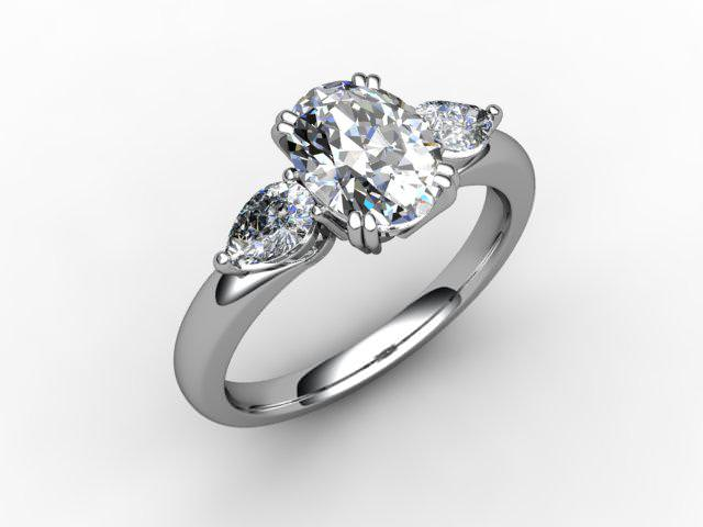 Trilogy Platinum Oval & Pearshape Diamond - Main Picture