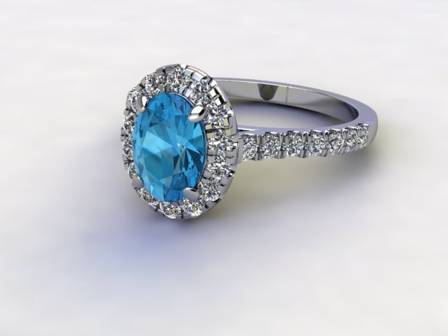 Natural Sky Blue Topaz and Diamond Halo Ring. Hallmarked Platinum (950)