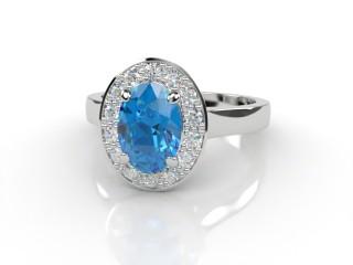 Natural Sky Blue Topaz and Diamond Halo Ring. Hallmarked Platinum (950)-03-0138-8920