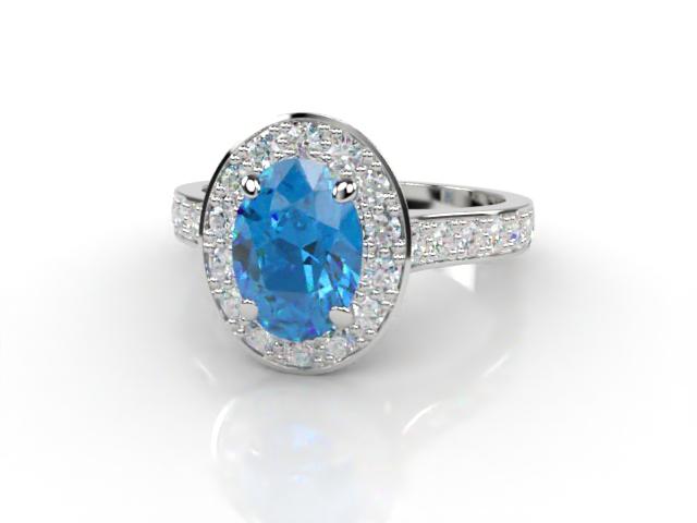 Natural Sky Blue Topaz and Diamond Halo Ring. Hallmarked Platinum (950)