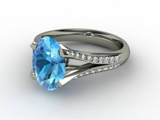 Natural Blue Topaz and Diamond Ring. Platinum (950)-03-0138-9006