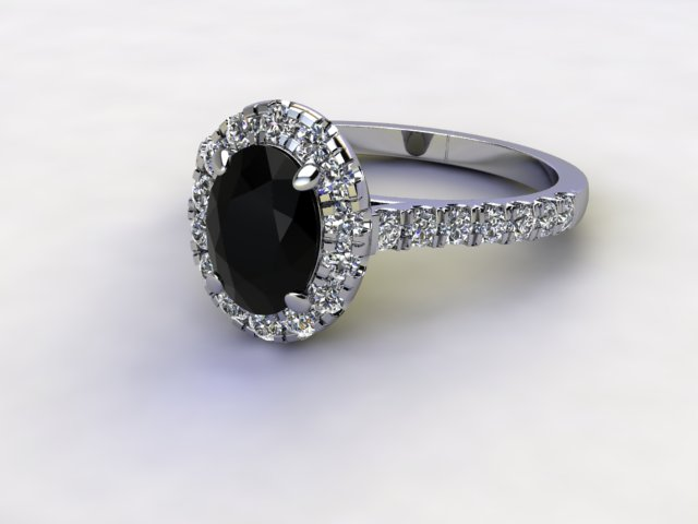 Natural Smoky Quartz and Diamond Halo Ring. Hallmarked Platinum (950)
