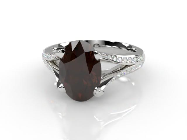 Natural Chocolate Quartz and Diamond Ring. Platinum (950)
