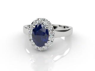 Natural Kanchanaburi Sapphire and Diamond Halo Ring. Hallmarked Platinum (950)-03-0147-8918