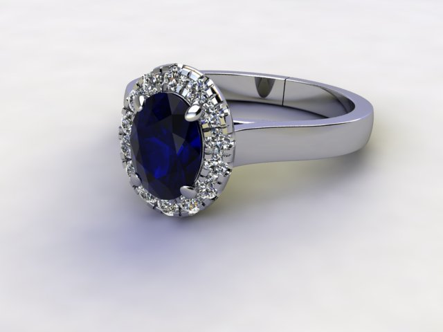 Natural Kanchanaburi Sapphire and Diamond Halo Ring. Hallmarked Platinum (950)
