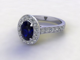 Natural Kanchanaburi Sapphire and Diamond Halo Ring. Hallmarked Platinum (950)-03-0147-8921